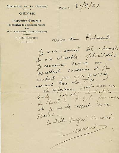lettre du général Férrié